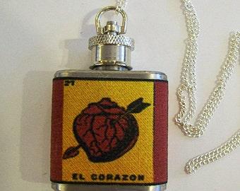 Loteria flask necklace retro vintage Mexico pop culture folk art kitsch