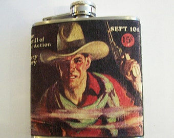 retro cowboy flask vintage 1950's western kitsch rockabilly beefcake pulp fiction