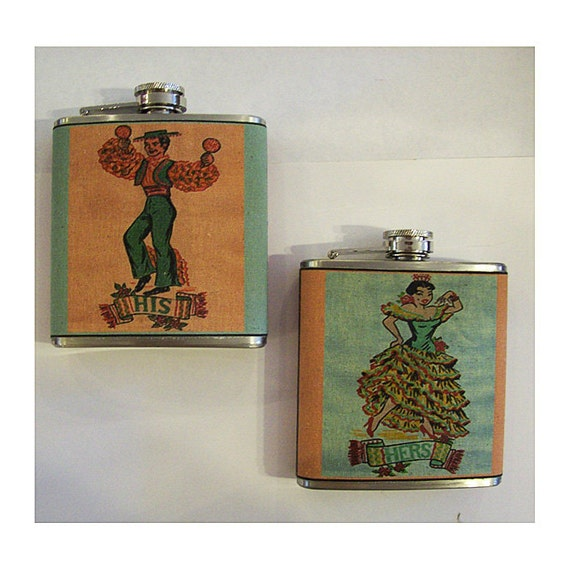 retro wedding flask set vintage his and hers rockabilly 1950's kitsch
