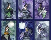 Blank Halloween  Witch MERMAIDS Note Cards from Original Watercolors by Camille Grimshaw