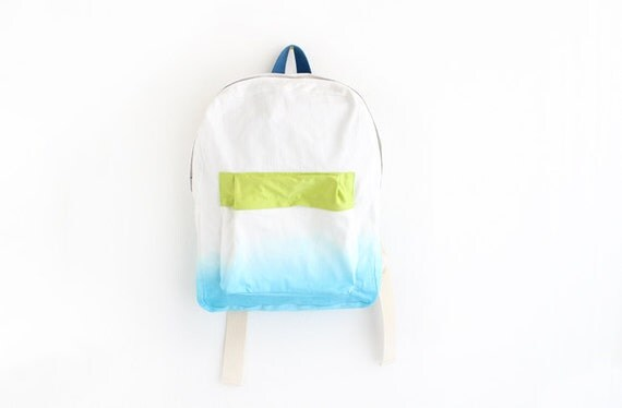turquoise backpack with lime green pouch