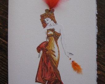 Alphonse Mucha Fashion Illustration Fire Orange Gown Art Nouveau Lady