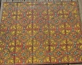 On SALE Now Floorcloth with Spanish Tile Pattern in Earth Colors