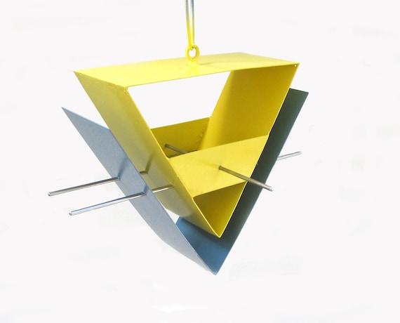 Birdfeeder - Chevron Bird Feeder in Slate Blue and Yellow outdoor garden art welded steel