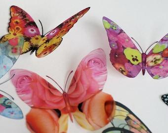 FLORAL MIX - 12 x 3D Butterflies for scrapbooking, cards, weddings, decorations