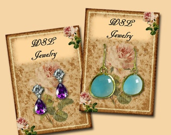 Customized ShaBBY CHiC EaRRING/JeWELRY DiSPLAY CaRDS-SWeET PiNK RoSE -Printable Collage Sheet Download- JPG Digital File