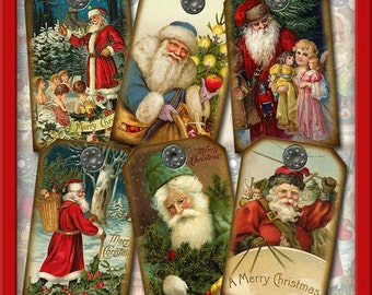8 Large Christmas SaNTA CLaUS Vintage Antique Art- Hang/Gift Tags -INSTaNT DOWNLoAD- Printable collage sheet JPG Digital File
