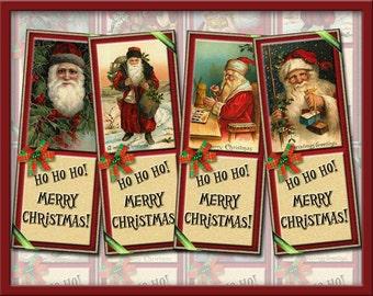 OLD World SaNTA- Vintage Christmas ArT BooKmArkS-Instant Download- Printable Collage Sheet JPG Digital File- NeW LoWER PRiCE
