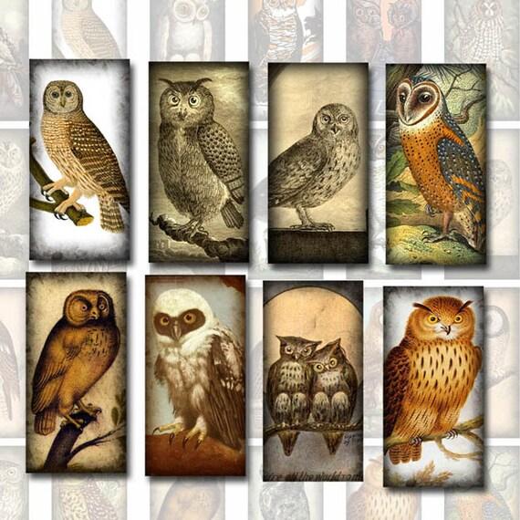 "PriMiTiVe OWLS Vintage Art tiles-1""x2"" Printable Collage Sheet JPG Digital File -jewelry, scrapbooking, crafts- New Lower Price"