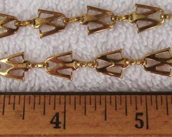 W W W W, 2 Letter W Bracelets, Trifari, 7 Inch Brass, W W W W