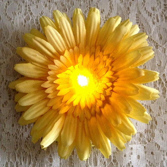 Burning Man lights - fabric hair flower - yellow daisy - light up hair flower