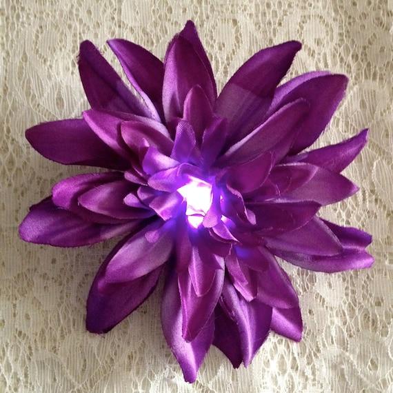 Custom listing for cdaverett - Burning Man costume - burlesque light up hair flower - white chrysanthemum - flower hair clip