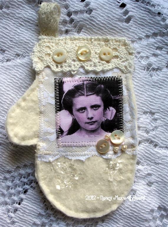 Snowy Shimmer Shabby HANDMADE Mitten Ornament
