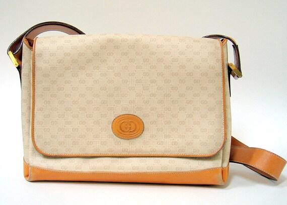 RESERVED FOR LINETTET Vintage Authentic Gucci Monogram Shoulder Bag Crossbody Bag Leather Trim
