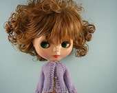 Blythe doll handmade knitted lavender lilac cardigan sweater BL192