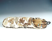 30% OFF - Wall Vase/Matchholder, brown leaf