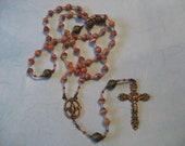 Rosary of African Paper Beads in Bronze Metal
