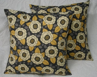"""16x16 Throw Pillow Cover 16"""" Large Flower Throw Pillow Decorative Cover - Blooms in Granite Aviary 2 (16-313**)"""