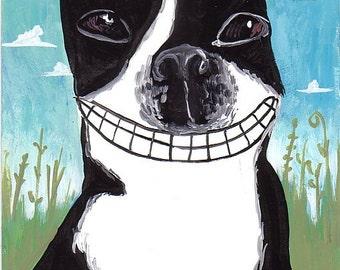 Whimsical Boston Terrier Art Print, 5x7 Big Smile Bostie - Blue Green Folk Art