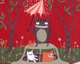 Red Road Trip Cat Art Print Illustration - Whimsical Outsider Folk Artwork Decor Green, Brown, Pink, Orange