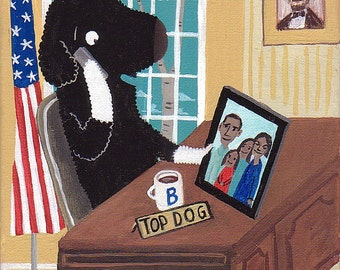 President Bo Obama in Oval Office - Folk Caricature Art Print 8x10 Democrat USA Barack