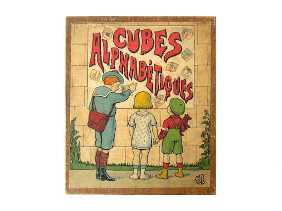French ALPHABET BLOCKS Cubes Alphabetiques - Set of 30 Antique Wooden Blocks