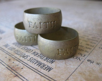1 PC Faith - Raw Brass Solid Heavy Gauge Ring Band SZ 9 - HH24