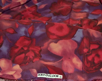 Fabric John Kaldor  Red Floral Jersey Synthetic 1 1/2 yard Remnant