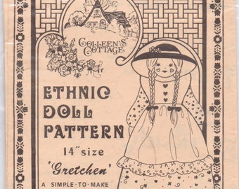 Doll Pattern Vintage Sewing Pattern Ethnic Doll Pattern Gretchen  Complete Uncut