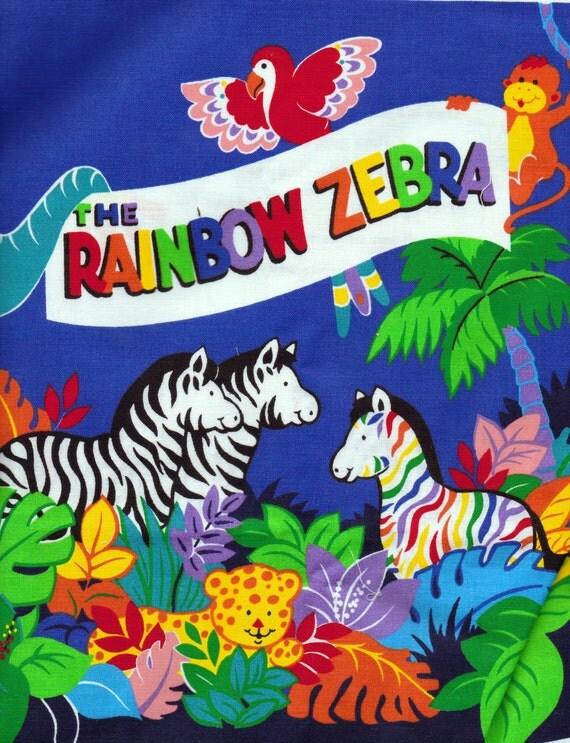 Fabric Panel Rainbow Zebra Cotton Storybook