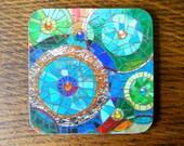 COASTER Blue Mosaic Circles Coaster