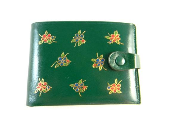 Vintage leather wallet, craftsman billfold, green leather gold designs