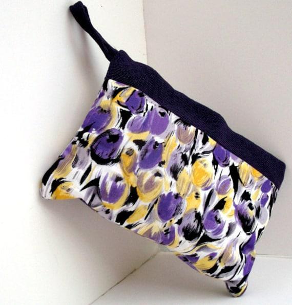 Cute Makeup Bag . Cute Makeup Organizer , Cosmetic Bag , Cosmetic Travel Bag , Purple and Yellow Clutch , Easter Spring Bag
