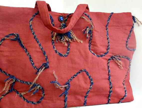Extra Large Tote Bag , Funky Laptop Bag , Tote Bag , Unique Book Bag ,Large Shoulder Bag , Over the Shoulder Tote , Travel Bag , Terra Cotta