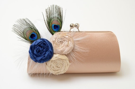 Peacock Feather Bridal Clutch or Bridesmaid Clutch - Dark Champagne Clutch - Navy Blue Ivory & Champagne Rosette Flowers -  Medium Size