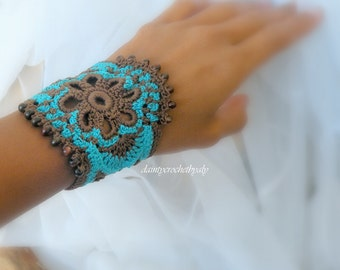 Crochet brown and turquoise cuff