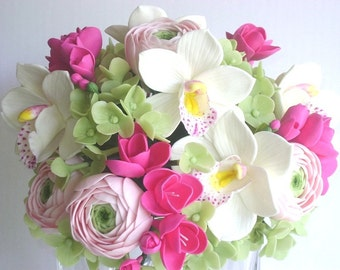 Wedding Bouquet Clay Hot Pink Fresia Cymbidium Orchid Ranunculus and Hydrangea Bridal Bouquet