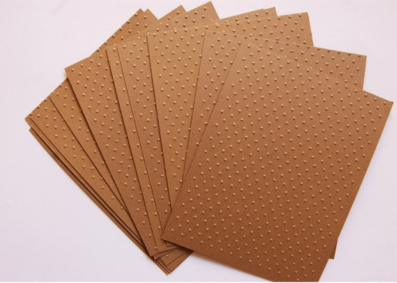 10 Swiss Dot Embossed Kraft Papers for cardmaking, scrapbooking, journaling, paper crafts