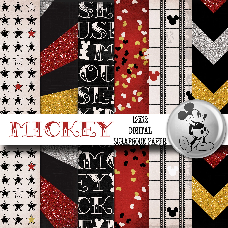 Scrapbook paper disney - Disney Mickey Mouse Inspired 12x12 Digital Paper Backgrounds For Digital Scrapbooking Instant Download