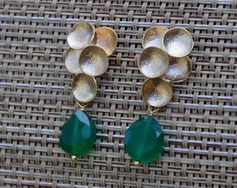 Green Onyx Earrings,  Post Stud Earrings, Gemstone Earrings, Gold Earrings, Sterling Silver Posts