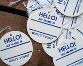 """RESERVED - Vintage """"Hello My Name Is"""" Name Tags - Set of 140 - 14 Sets of 10 - RESERVED for marks stuff"""