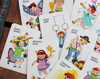 Vintage Large Old Maid Cute Children Cards - Random Set of 6 - Vintage Cards, Vintage Children Cards, Scrapbooking Ephemera, Card Ephemera