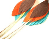Leather Feather Earrings with tails in dark chocolate, orange, turquoise and gold - recycled