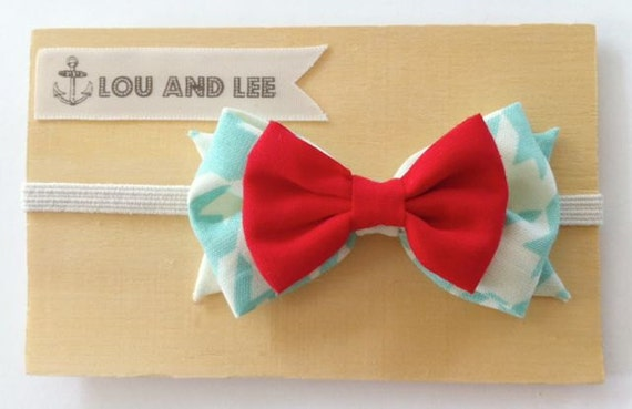 Baby bow headband  - with mint houndstooth fabric and red bow