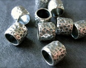 3 Solid Sterling Silver hammered Slider Tube Beads - oxidized and polished - 6mm X 7mm - large holed - 5mm hole