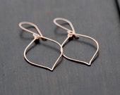 Rose Gold Leaf Earrings - Hoops In 14K Rose Gold Filled, Minimalist Jewelry, Bohemian Fashion
