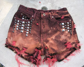 Summer Sale High Waisted Guess Studded Cut off Repurposed Red Nebula Galaxy and Black Big Bang Art Shorts