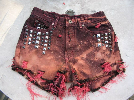 Summer Sale High Waisted Guess Studded Cut off Repurposed Red Nebula Galaxy and Black Big Bang Art Shorts