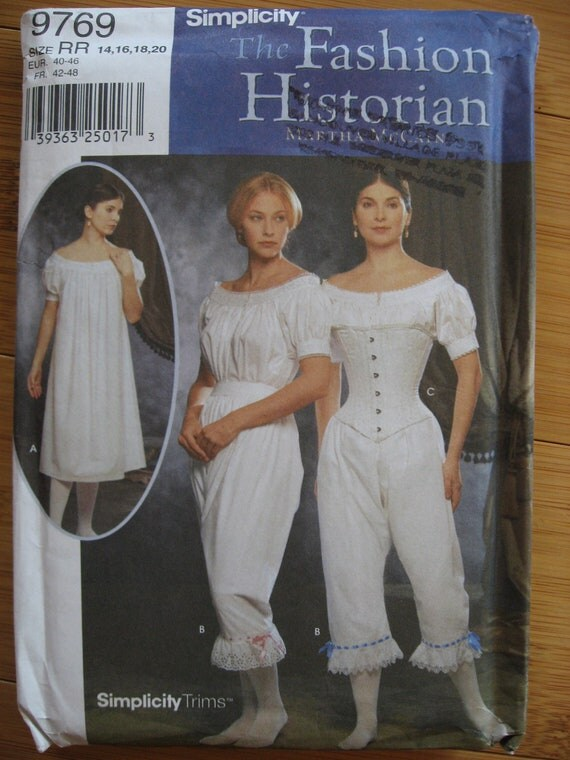 Civil War reenactment costume pattern undergarments Simplicity 9769