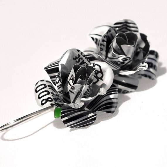 White Bar Code Recycled Jewelry Rose Earrings